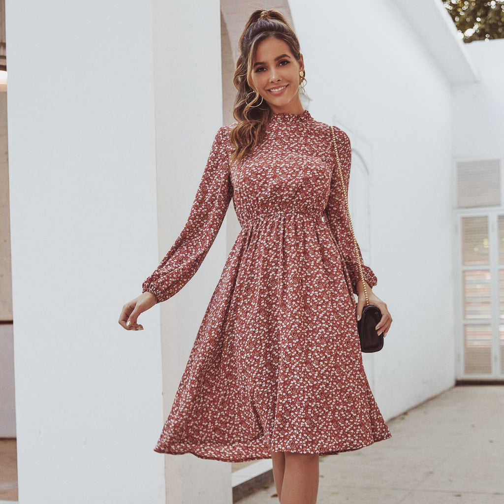 Long-Sleeve Floral Dress
