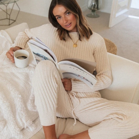 Rib Knitted Sweater Tracksuit