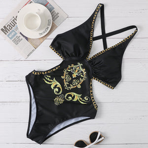Black and Gold Swimsuit One Piece