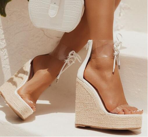 White Clear Wedge Sandals
