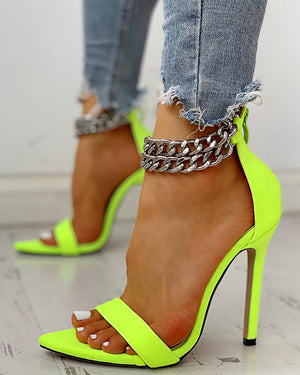 Metal Chain Buckle Open Toe Thin Heels