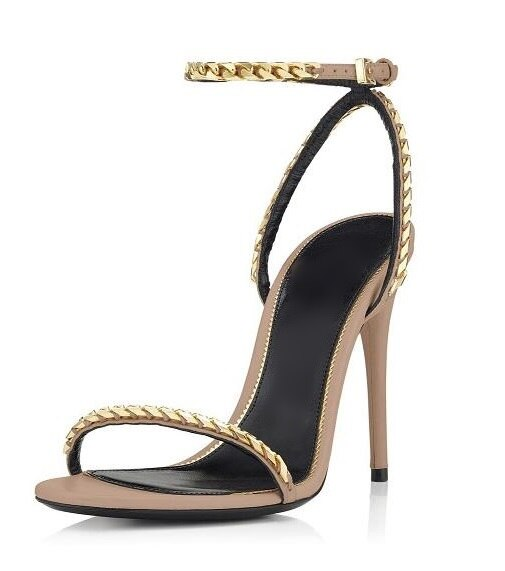 Gold Chain Ankle Strap Gladiator Sandals