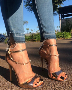 Ankle Strap Chain Pearl High Heels