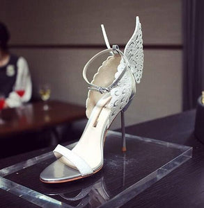 White Silver Butterfly Wing Bridal Sandal
