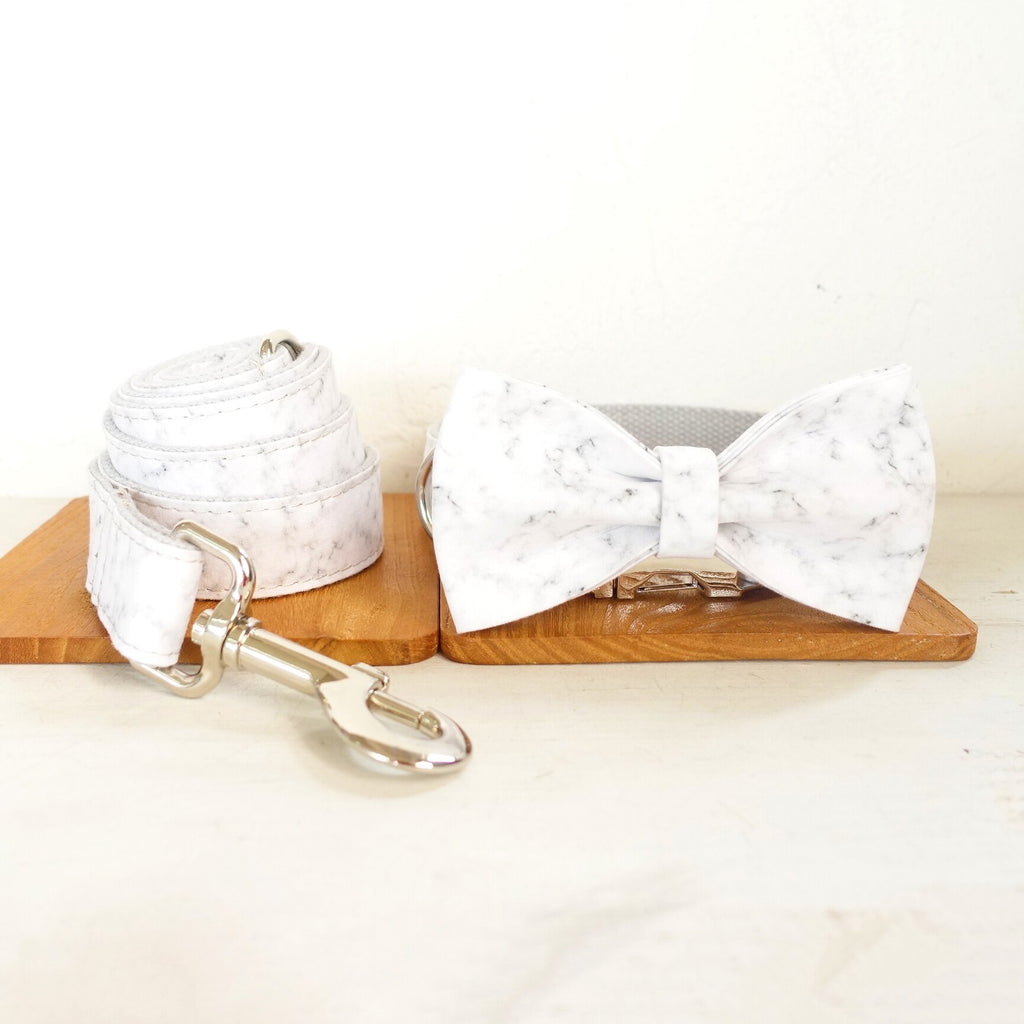 Bow Tie Dog Collar and Leash Set Luxury Gift