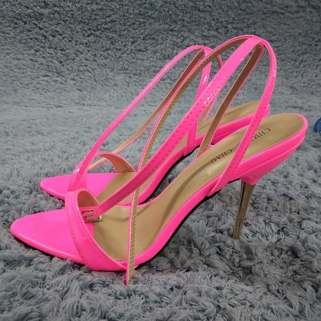 Gold Iron Heel Hot Pink Shoes