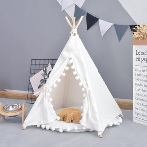 White Canvas Pom Pom Pet Teepee
