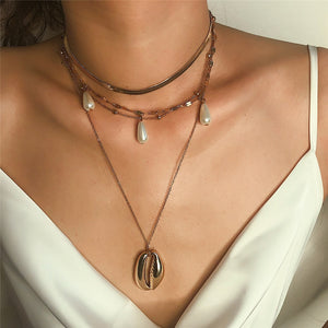 Bohemian Multi layer Shell Choker