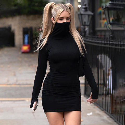 High Neck Face Mask Bodycon Dress