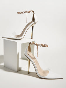 Metal Chain Pointed Heels