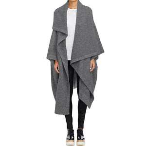 Casual Long Trench Lapel Neck Cardigan Cape Poncho