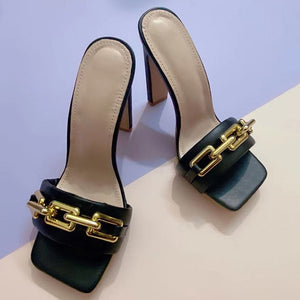 Square High Heels Luxury Metal Shoes