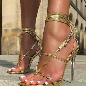 New Elegant Ankle Cross Tied Heels