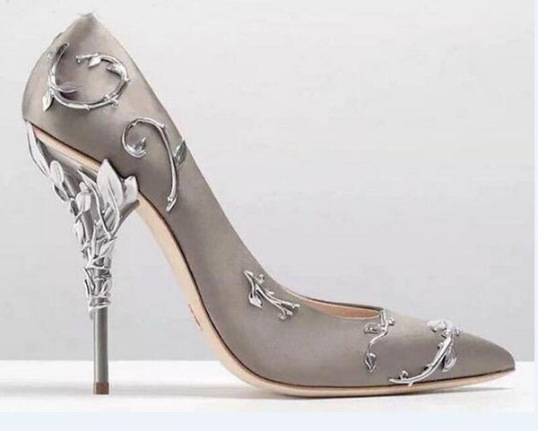 Knish's Metallic Leaves Heels