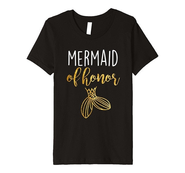Mermaid Maid of Honor Bachelorette Bridesmaid T Shirt