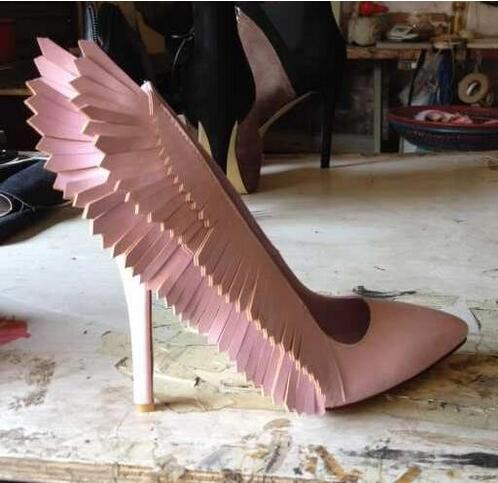 Knish's pink wings stiletto heels