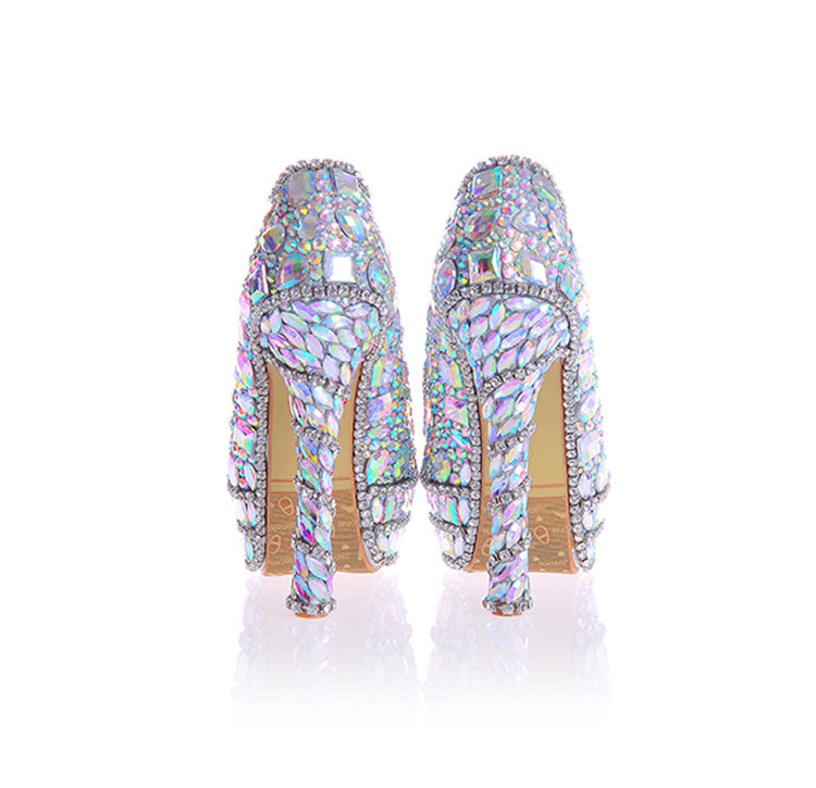 Knish's Crystal Wedding Shoes With Matching Purse Sets