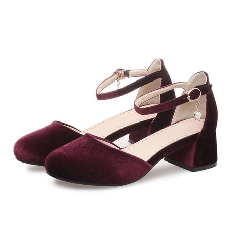 Medium Heel Velvet Shoes
