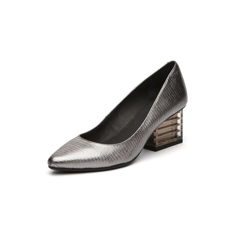 Knish's Metal Color Thick Heel