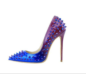 Mixed Color Spike Pump Genuine leather