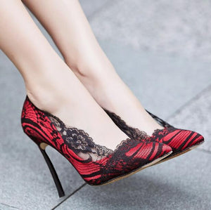 Knish's Lace Embroidery Thin Heels