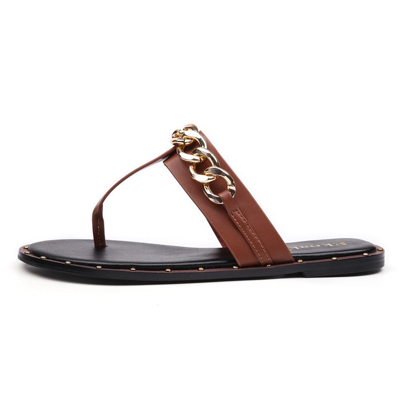 Knish's Leather Sandals Metal Chain
