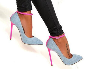 Knish's Denim Blue High Heel Shoes
