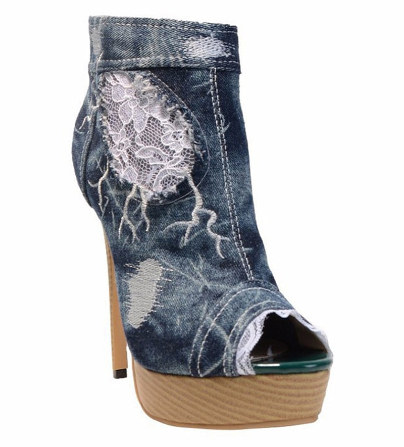 Knish's Patch Denim Boots