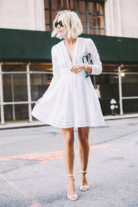 Hollow Out Deep White Dress