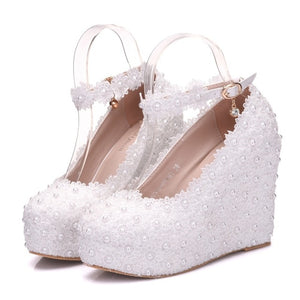 Knish's White Bride Pearl Shoes