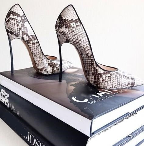 Knish's Python Leather Metal Heels