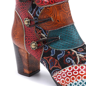 Knish's Genuine Leather Cowgirl Short Boots