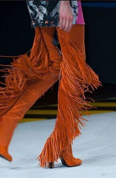 Over The Knee Fringed Orange Long Boots