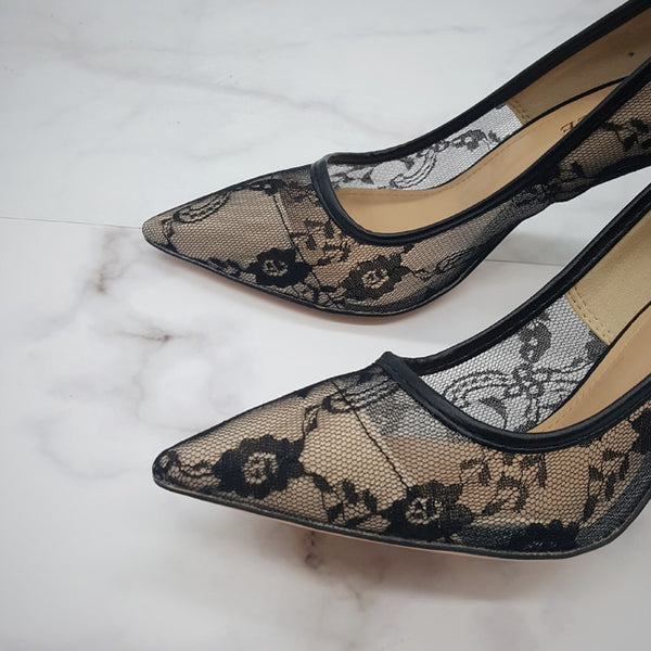 Knish's Transparent Flower Lace Shoes