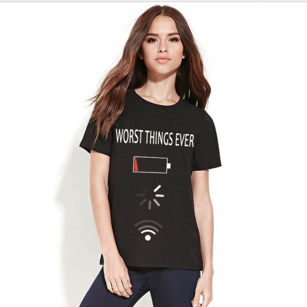 Charging  Low Wifi Processing T-shirts