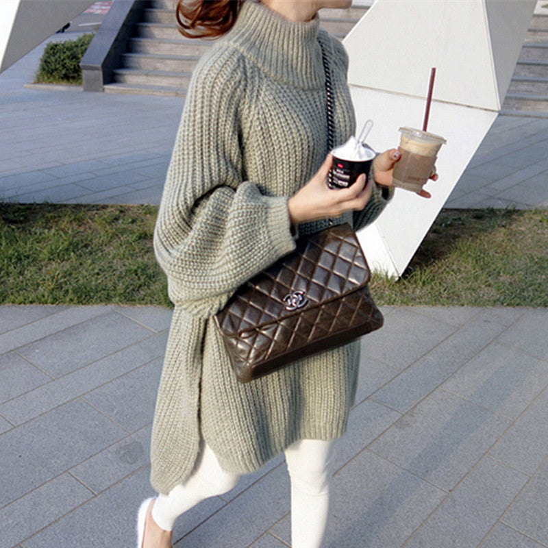Thick Long Lantern Turtleneck Sweater
