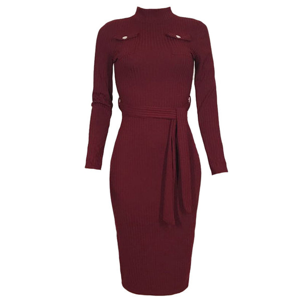 Winter Sweater Knitted Dress Belted