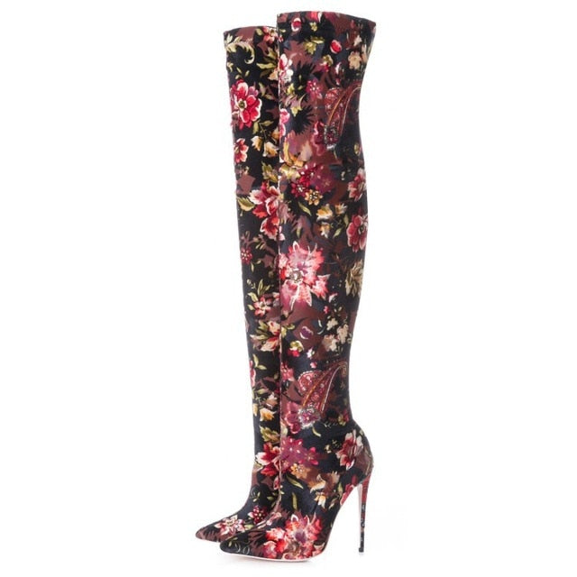 Knish's flower print boots
