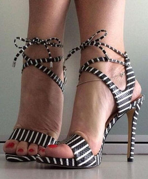 Knish's White Striped High Heel