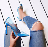 Knish's  Blue Slip-on Clear Heels