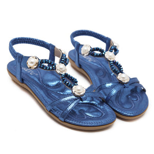 Knish's String Beads Flat Sandals