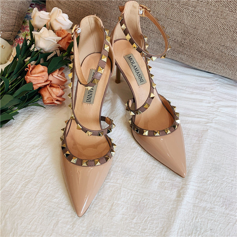 Knish's Patent Leather Studded Spike Heels