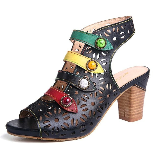 Knish's Comfy Colorful Genuine Leather Sandals