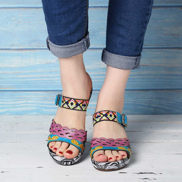Knish's Retro Genuine Leather Sandals