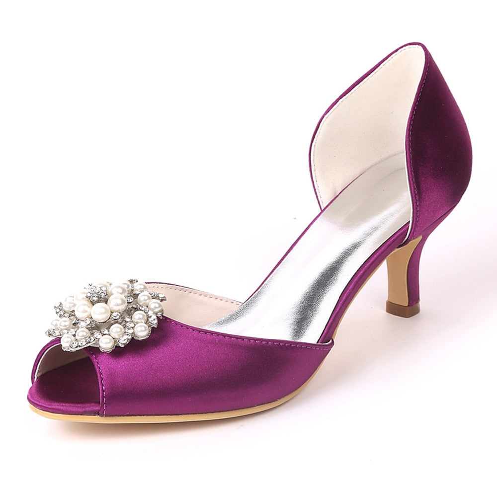Knish's Pearl Satin  Kitten Heels