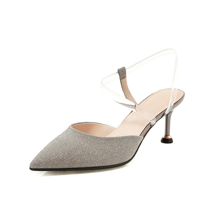 Knish's Transparent Strap Kitten Heel