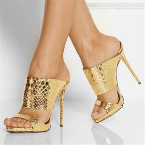 Knish's Snake Printed Gold Sandals
