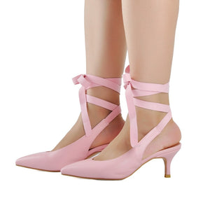 Knish's Lace Up Kitten Heels