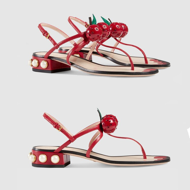 Knish's Runway Edition Cherry  Flat Sandals