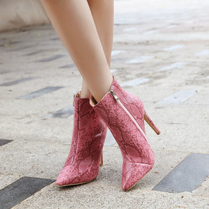 Knish's Snake Print Ankle Boots